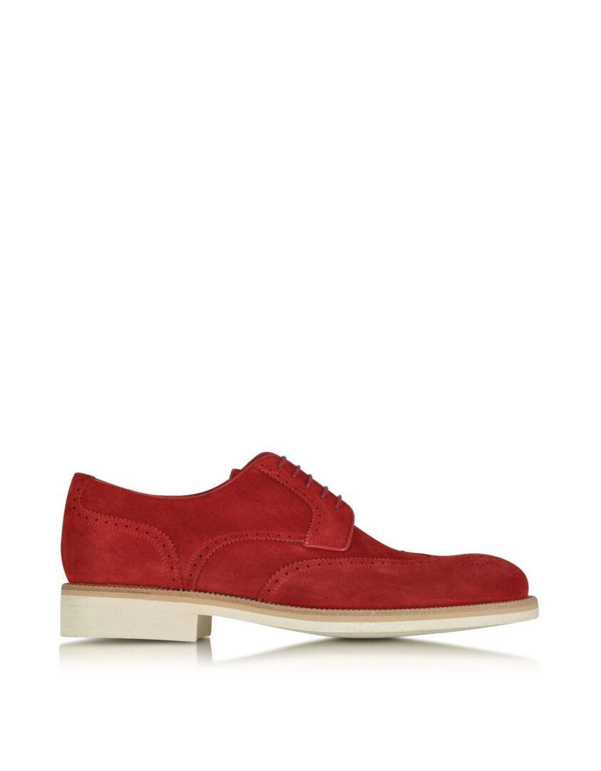 A.TESTONI MEN'S M45702BEH98168GE3 RED SUEDE LACE-UP SHOES
