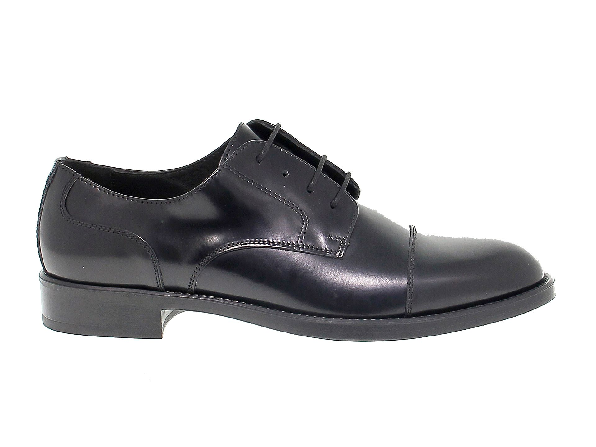 ANTICA CUOIERIA MEN'S ANTIC20622 BLACK LEATHER LACE-UP SHOES