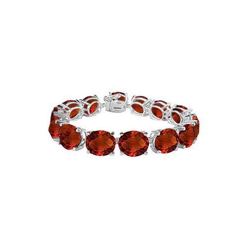 14K White Gold Prong Set Oval Garnet Bracelet with 50.00 CT TGW