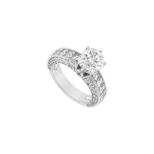 14K White Gold Semi Mount Engagement Ring 1.50 Carat Diamonds Center Diamond Not Included