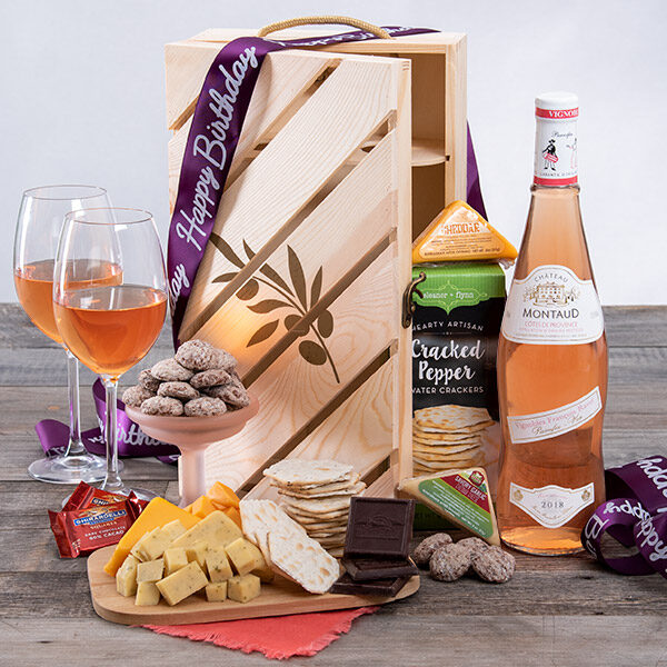 Birthday Cheers Rose Wine Gift Crate