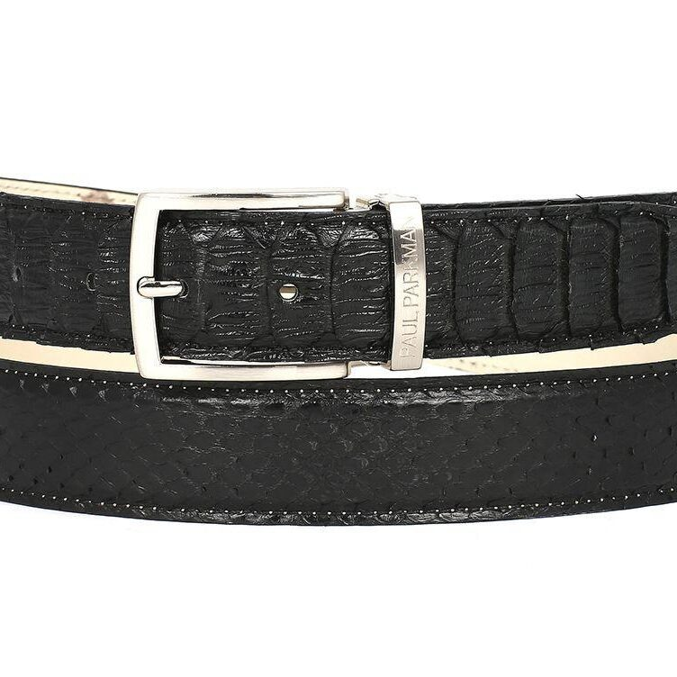PAUL PARKMAN Men's Black Genuine Python snakeskin Belt