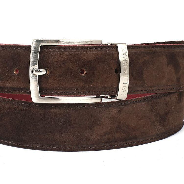 PAUL PARKMAN Men's Brown Suede Belt ID#B06-BRW