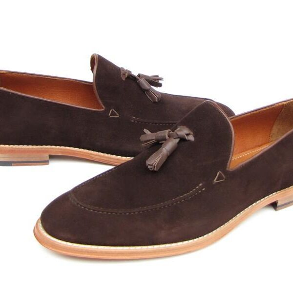 Paul Parkman Men's Tassel Loafer Brown Suede Shoes ID#087-BRW