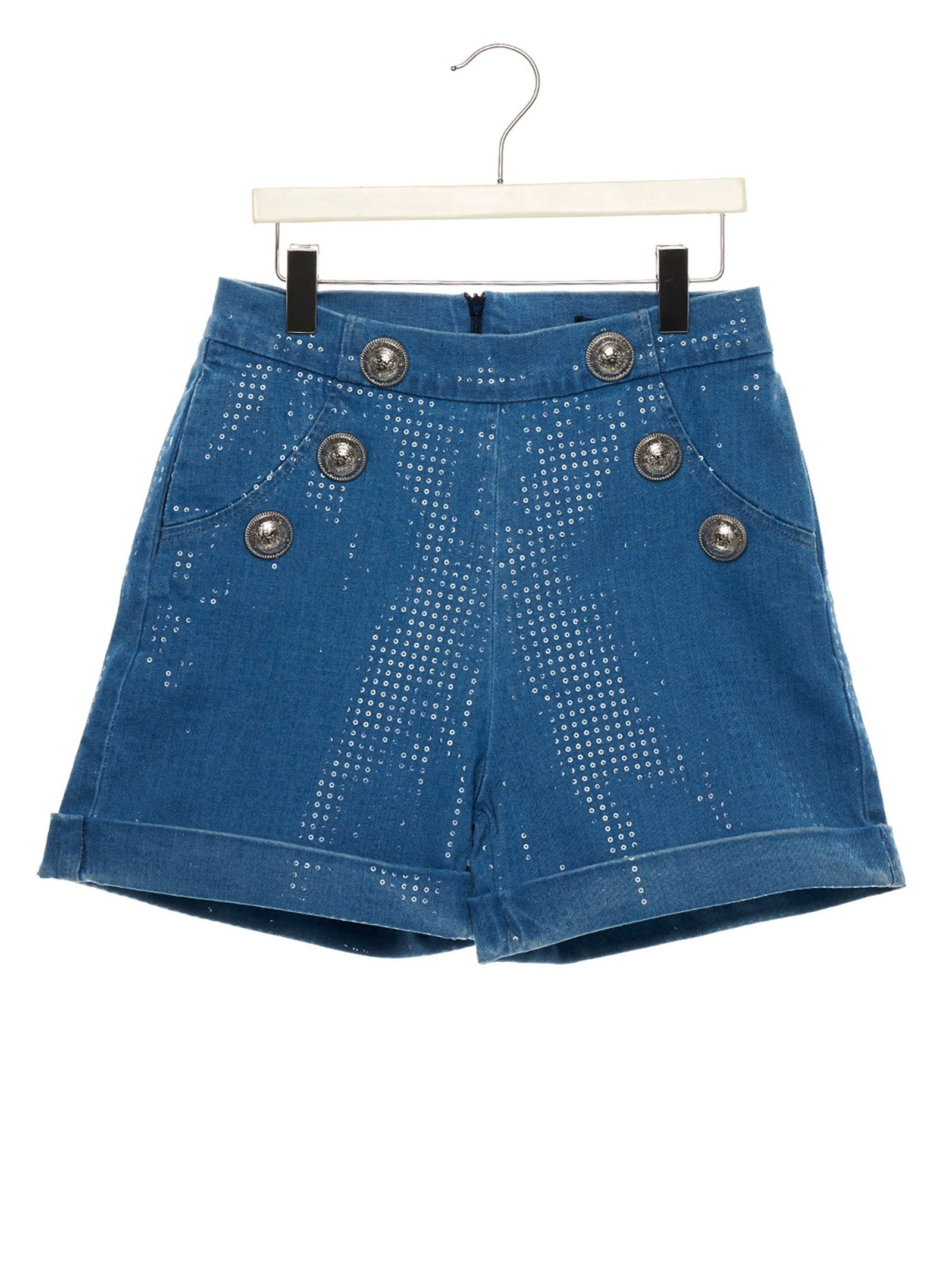 BALMAIN GIRLS 6L6089LC880616 BLUE COTTON SHORTS