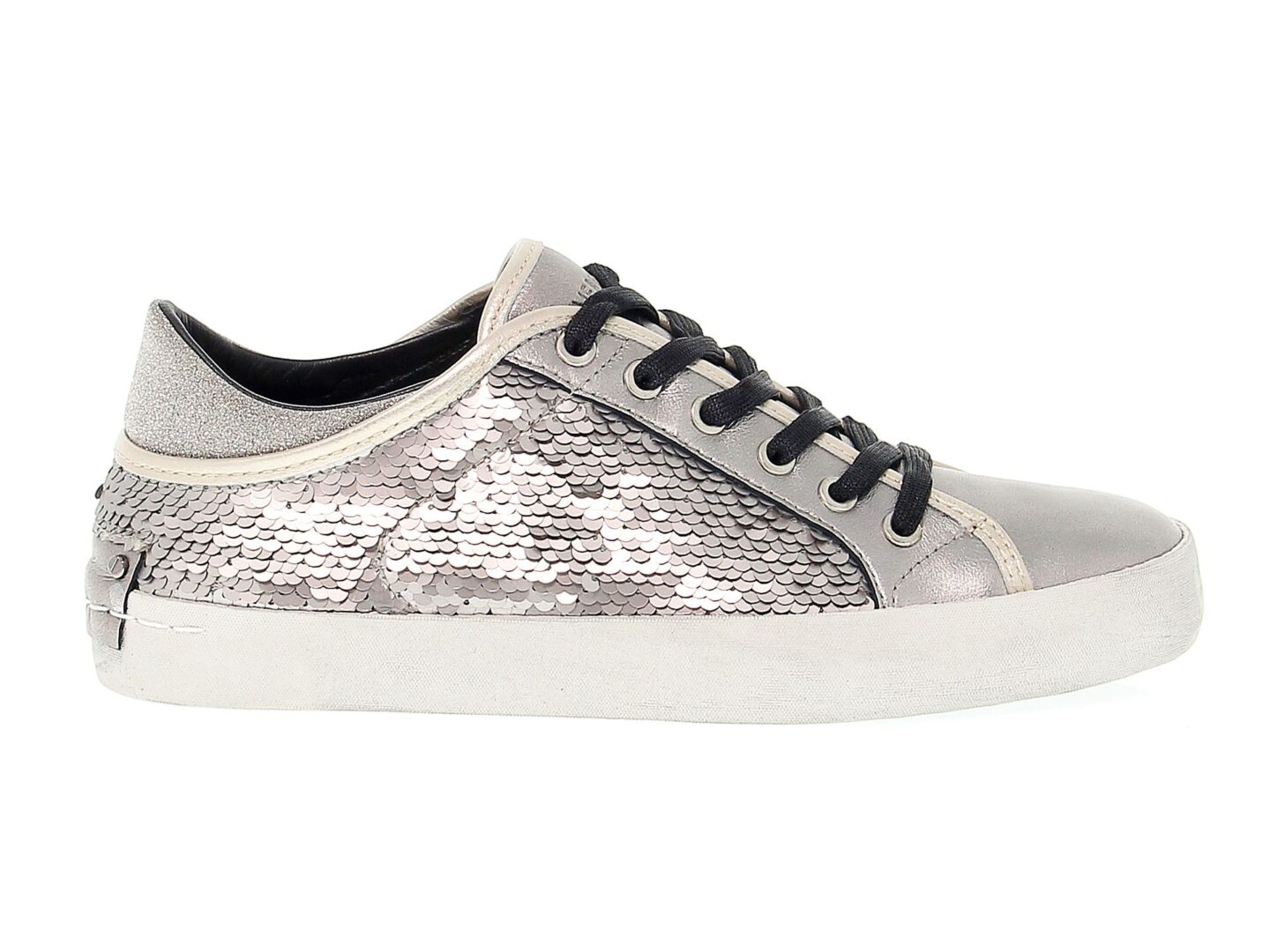 CRIME LONDON WOMEN'S 25035A1734 SILVER LEATHER SNEAKERS
