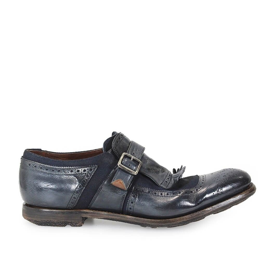 CHURCH'S MEN'S EOG0019QGF0ANR BLUE LEATHER MONK STRAP SHOES