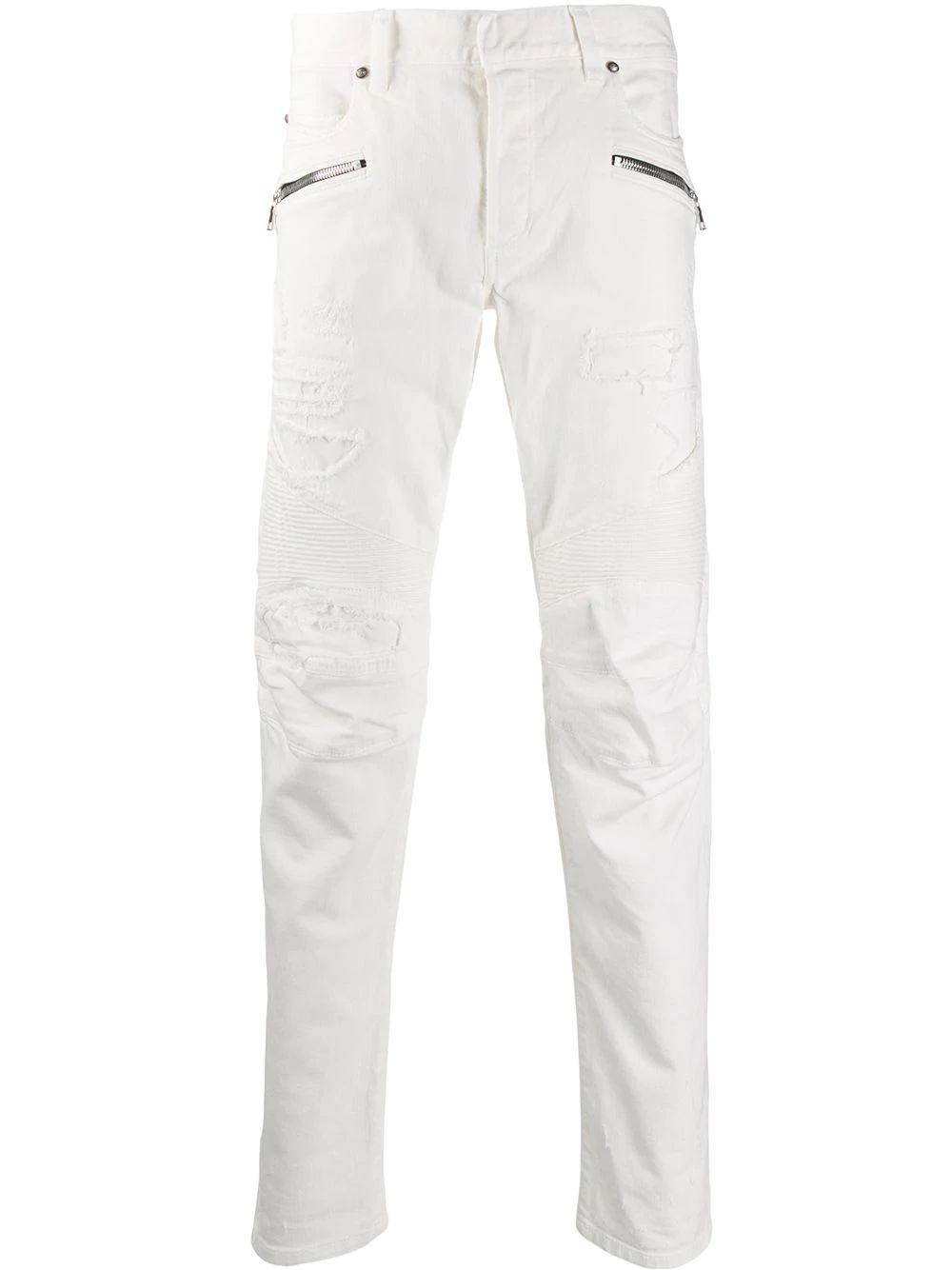 BALMAIN MEN'S SH05336Z1610FA WHITE COTTON JEANS
