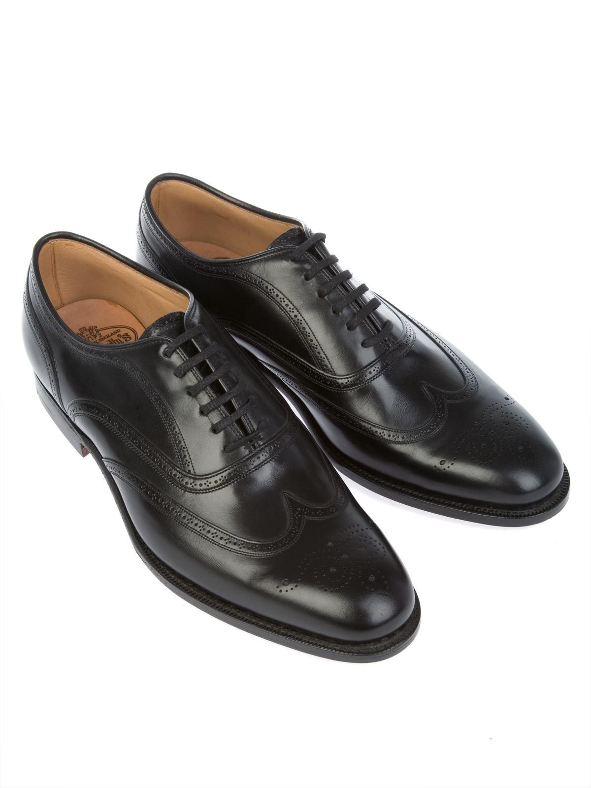 CHURCH'S MEN'S GUNTHORPECALFBLACK BLACK LEATHER LACE-UP SHOES