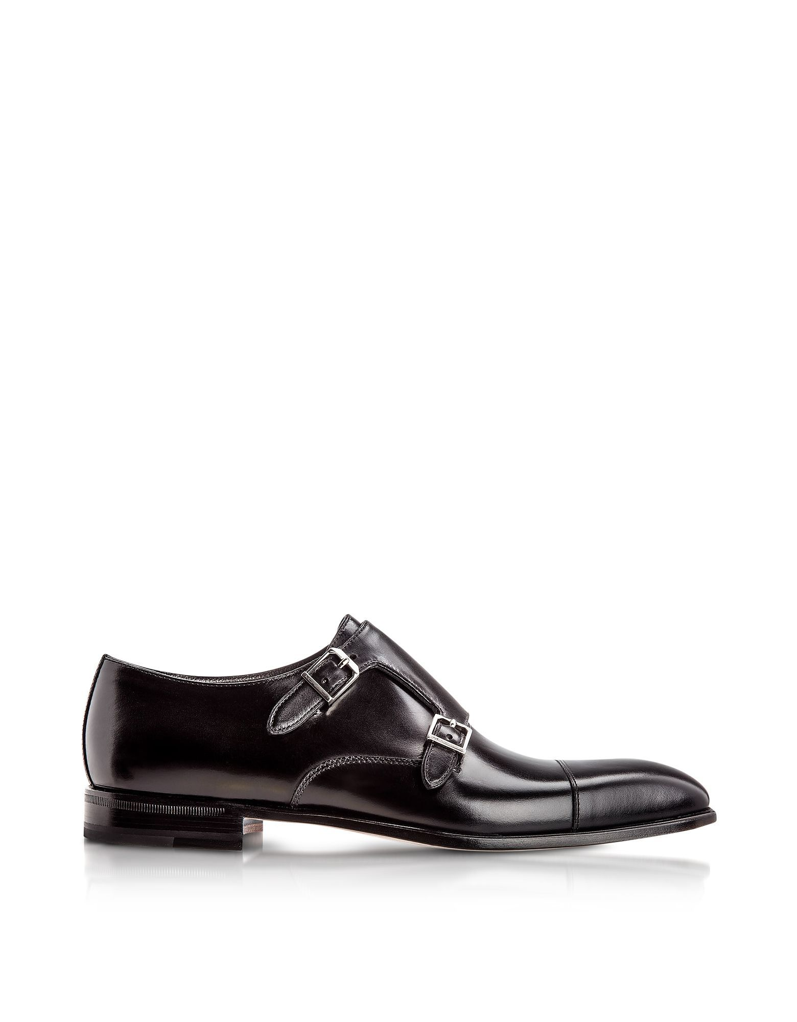 MORESCHI MEN'S TORONTOBLACK BLACK LEATHER MONK STRAP SHOES